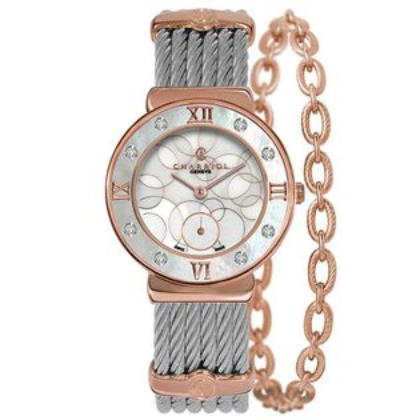 CHARRIOL夏利豪(ST30PD560028)真鑽玫瑰金經典鋼索腕錶環繞珍珠母貝面30mm