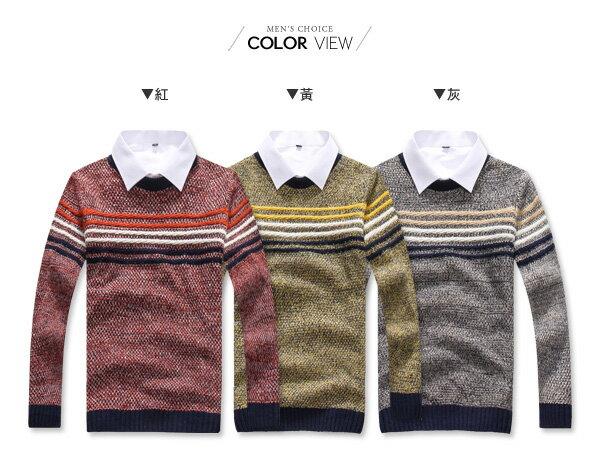 ☆BOY-2☆【PPK86037】英倫學院風條文拼接針織毛衣 1