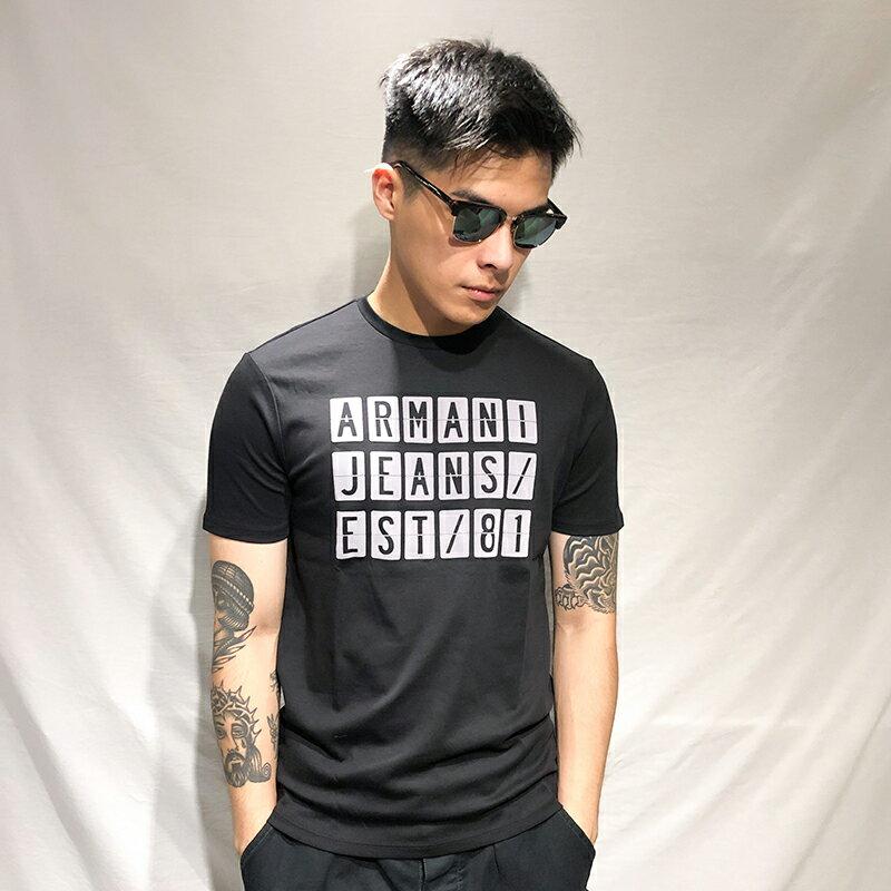 美國百分百【全新真品】Armani Jeans 短袖 AJ T恤 老鷹 logo T-shirt 黑色 S號 AH68