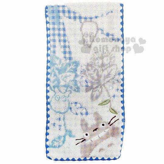 〔小禮堂〕宮崎駿 Totoro 龍貓 毛巾布收納袋《藍白.格紋.葉子.朋友》日本丸真系列