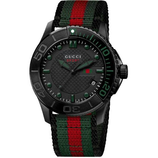 Gucci 古吉YA126229義大利 帆布 計時腕錶 黑面44^~44mm