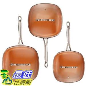 [8美國直購] 不沾鍋 廚具套裝 Gotham Steel 2138 Nonstick Copper Square Shallow Pan with Lids 6 Piece Cookware Set - 限時優惠好康折扣
