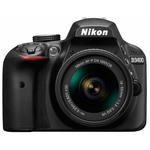 "Nikon D3400 24.2 Megapixel Digital SLR Camera with Lens - 18 mm - 55 mm - Black - 3"" LCD - 16:9 - 3.1x Optical Zoom - Optical (IS) - TTL - 6000 x 4000 Image - 1920 x 1080 Video - HDMI - HD Movie Mode - Wireless LAN 0"