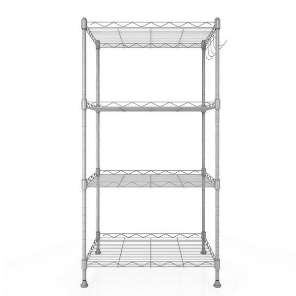 Kitchen Wire Shelving 4-Shelf Storage Organizer Rack Adjustable Height with Side Hooks 3