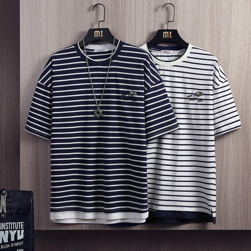 夏季新款假兩件條紋t恤男短袖寬鬆拼接刺繡衣服半袖男圓領打底衫