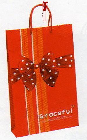 紙袋2K~20入~緞帶紅~直~棉把手 pbag~022