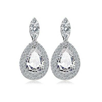 ~純銀耳環鍍白金鑲鑽耳飾~ 耀眼迷人生日情人節 女飾品73cr50~ ~~米蘭 ~