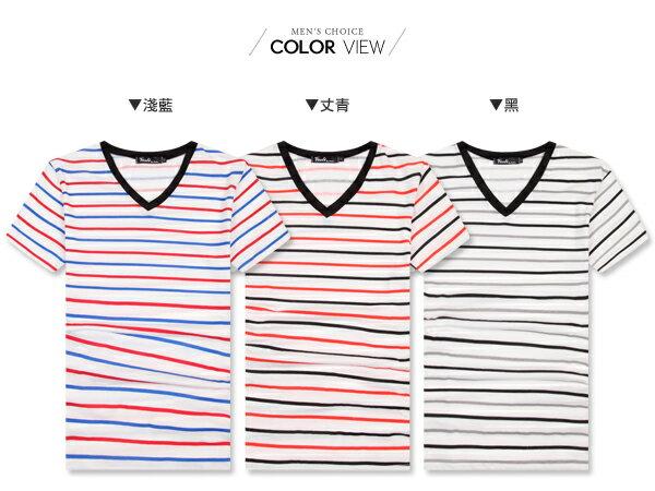 ☆BOY-2☆【PPK82072】簡約休閒條紋V領T恤 2