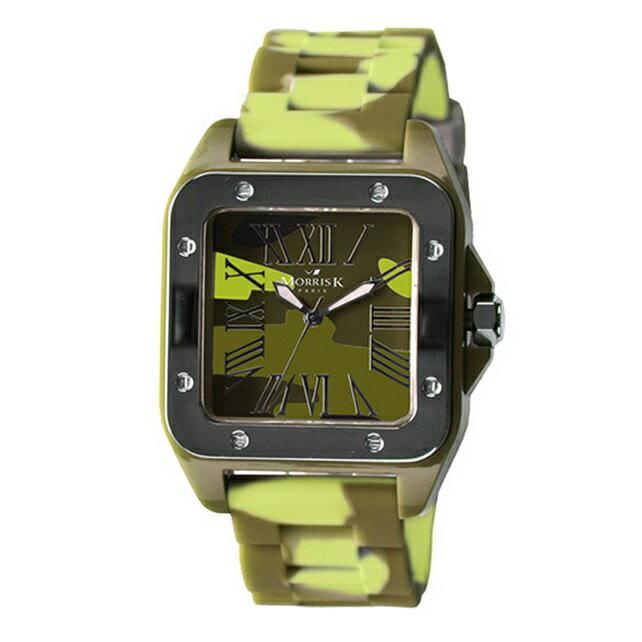 【Morris K】羅志祥代言 舞極限方型休閒潮流腕錶 迷彩 38mm-MK13015-KZ08