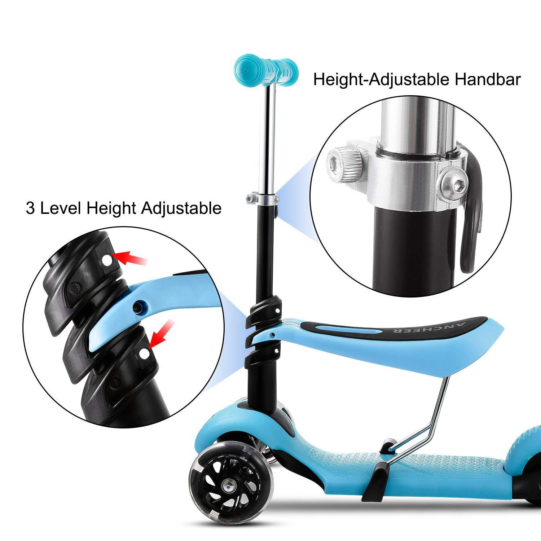 Finejo Scooter For Kids Toddler 3 In 1 3 Wheel Mini Kick Scooter