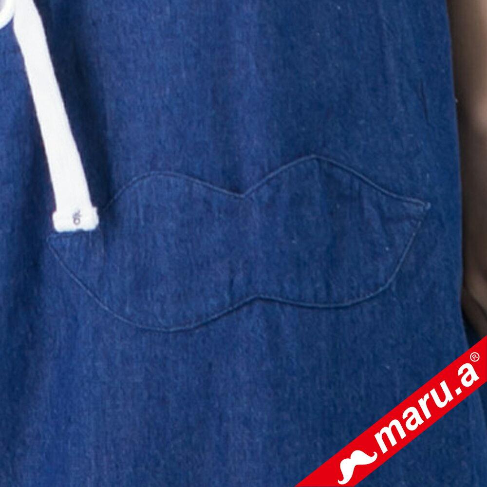 【maru.a】綁帶裝飾魚尾裙襬長洋裝(深藍) 7