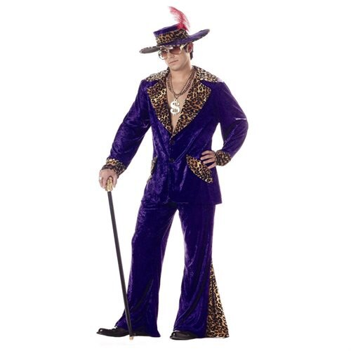 Adult Mens Purple Pimp Cheetah Halloween Costume sz XL 0