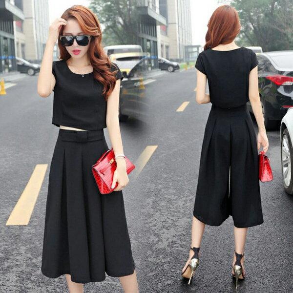 《全店75折》韓系兩件式修身上衣+寬腿褲 (M-2XL,3色) - 梅西蒂絲(現貨+預購) 0