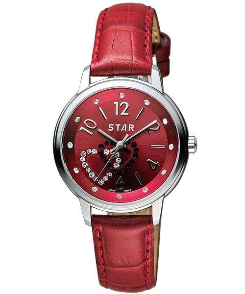 STAR時代錶 7T1407-361S-R雙心匯時尚腕錶/紅面30mm
