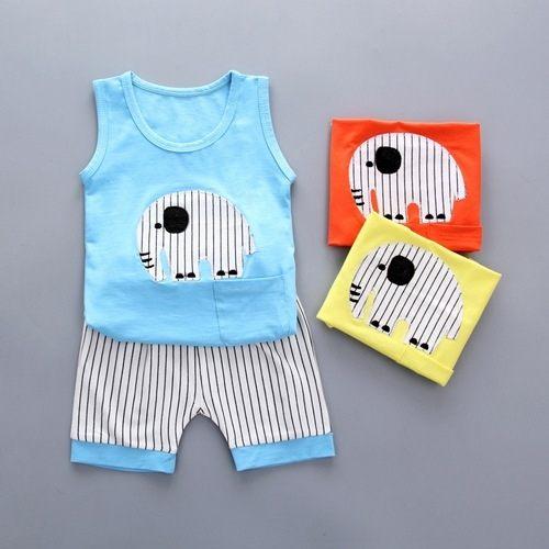 嬰兒短袖套裝背心+條紋短褲寶寶童裝CK11203好娃娃