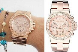 美國 正品 Michael 經典玫瑰金水鑽手錶