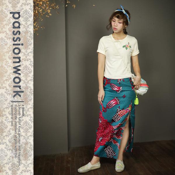 美passionwork:《美passionwork》開叉長裙☆普普綠