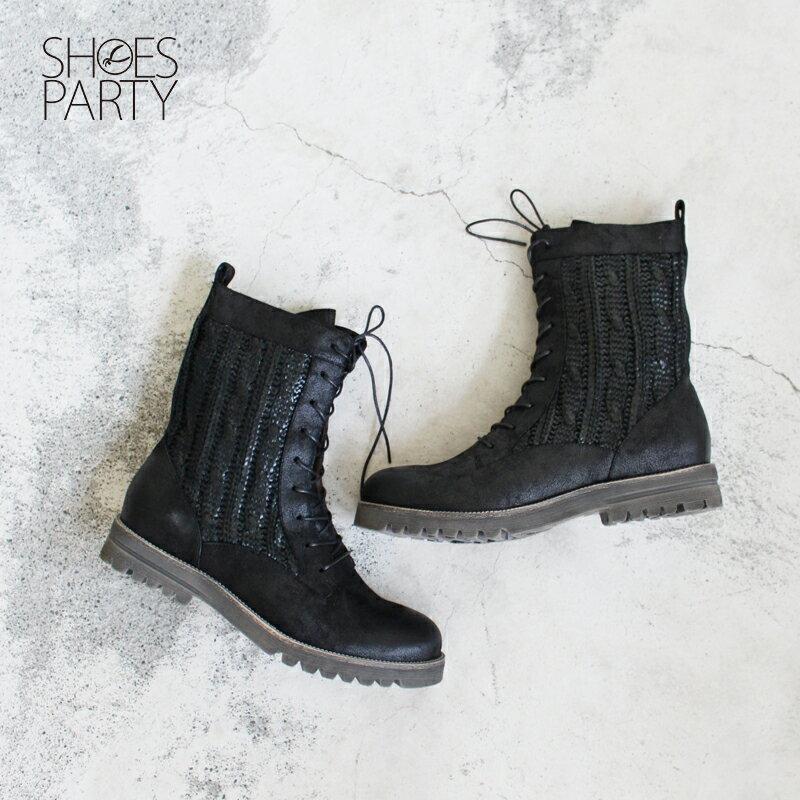 ~F2~16111L~雙色羅紋布中筒靴_Shoes Party