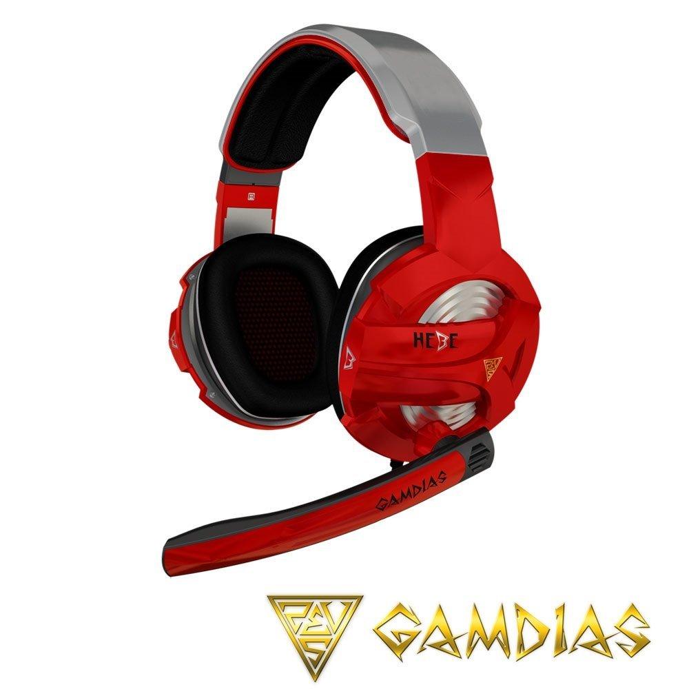 【新風尚潮流】GAMDIAS HEBE 聖殿騎士 立體聲道電競耳機麥克風 紅灰 GHS2300