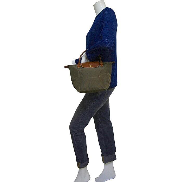 [短柄S號]國外Outlet代購正品 法國巴黎 Longchamp [1621-S號] 短柄 購物袋防水尼龍手提肩背水餃包 枯葉草 3