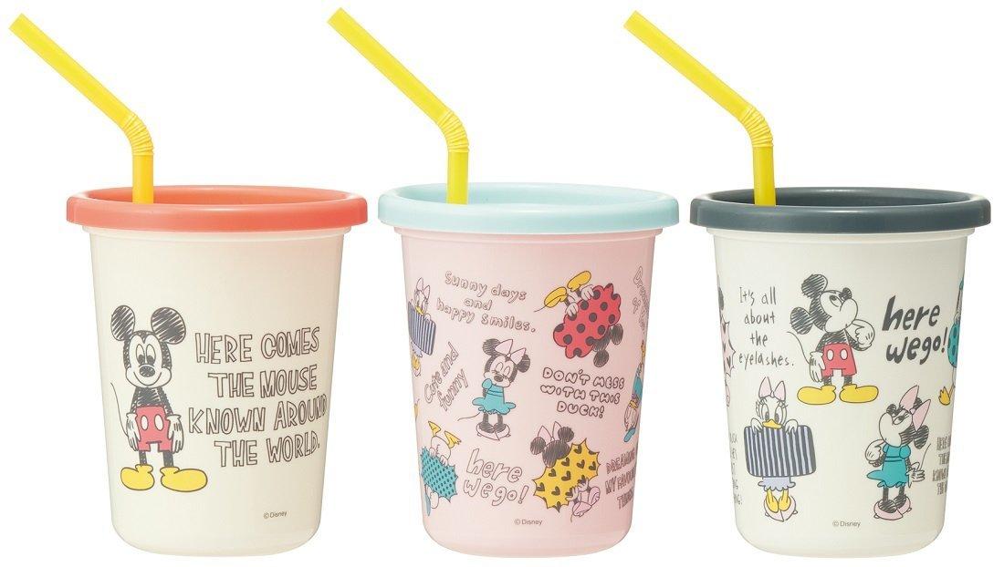 X射線【C345784】米奇Mickey 日本製塑膠吸管杯3入320ml,水瓶/隨身瓶/直飲水壺/學習杯/漱口杯/果汁杯/日本製