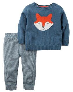NANABABY:【美國Carter's】套裝二件組-純棉針織毛衣帥氣小狐狸款121G852