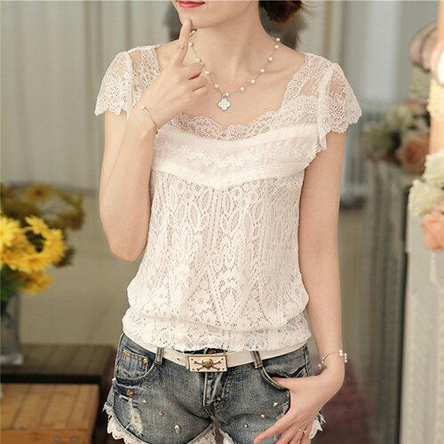 V領上衣短袖白色蕾絲衫 (白色,M~2XL)【OREAD】 - 限時優惠好康折扣