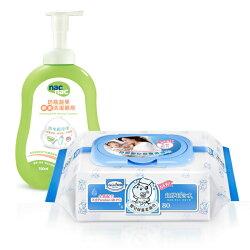 【奇買親子購物網】貝恩Baan NEW嬰兒保養柔濕巾80抽24入/箱+nac nac 酵素奶瓶蔬果洗潔慕斯罐裝/1罐