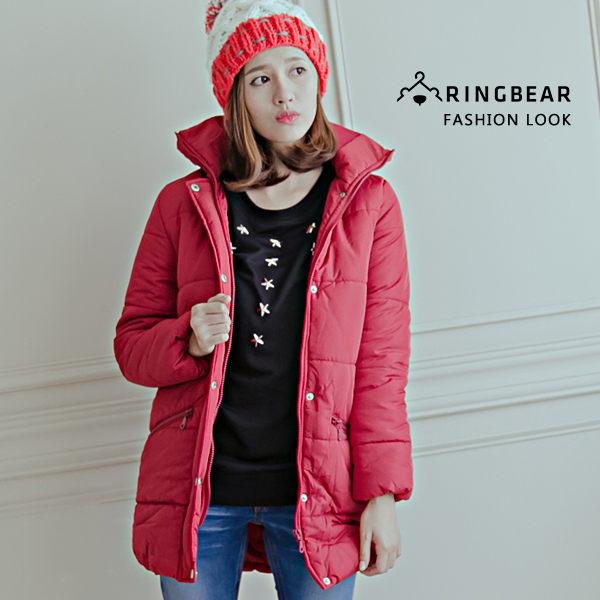 保暖外套--俐落保暖立領鋪厚棉蜜桃絨長版外套(黑.紅XL-5L)-J291眼圈熊中大尺碼 0