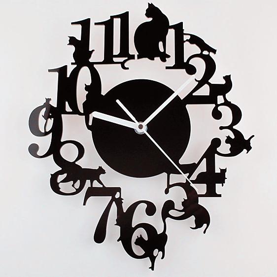 《波卡小姐》牆上的貓 北歐時尚藝術掛鐘 / 靜音時鐘創意吊飾 / 居家裝飾 客廳.房間.餐廳掛畫裝飾品 / 貓奴情人生日禮物 (現+預)