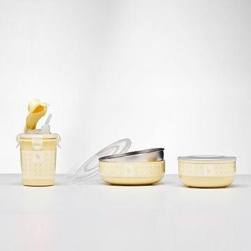美國【Kangovou】 小袋鼠不鏽鋼安全兒童餐具簡配組(檸檬黃)
