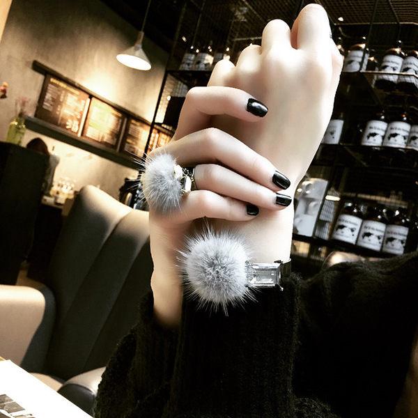 PS Mall 韓版秋冬新款 水晶水貂毛球系列手鐲戒指 圓珍珠鑲鑽貂毛戒指【G2377】