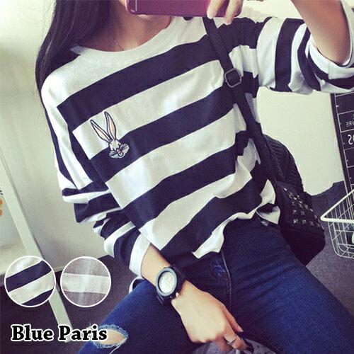 上衣 - 圓領刺繡兔子寬鬆條紋長袖T恤【29150】藍色巴黎《2色》現貨 + 預購 0