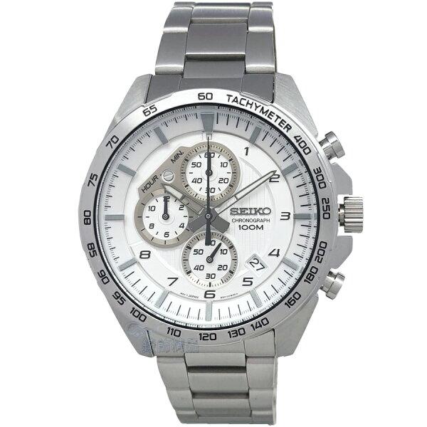 SEIKO手錶精工表SSB317P1白面日期計時鋼帶男錶【錶飾精品】