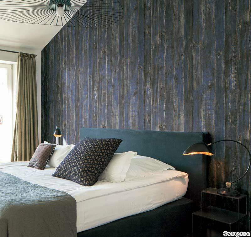 日本壁紙 DIY道具組 工業風 藍色木紋 SANGETSU RE-2629 牆紙