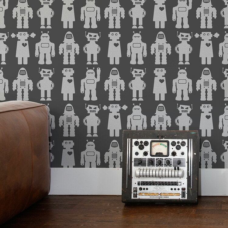Aimee Wilder / KIKI Collection Big Robots thunder 壁紙 (訂貨單位66.04cm×9m/卷)