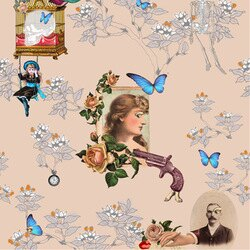 Elli Popp /  Wings and Pistols / P144-01 壁紙 (訂貨單位52cm×10m/卷)