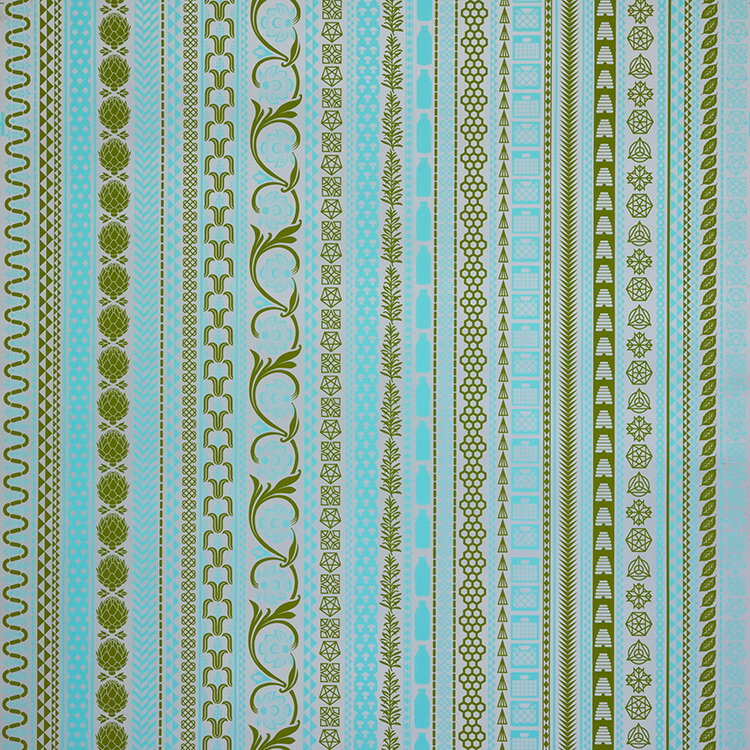 Flavor Paper FARMERS MARKET / Green Wave On Silver 壁紙 (訂貨單位68.58cm×13.7m/卷)