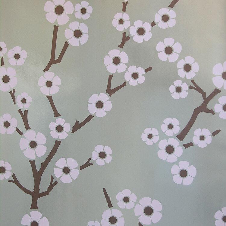 Flavor Paper SAKURA / Cherry Blossom On Silver 壁紙 (訂貨單位68.58cm×13.7m/卷)