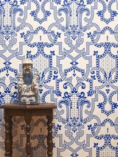 IsidoreLeroy法國壁紙幾何圖客廳摩登藍色白色