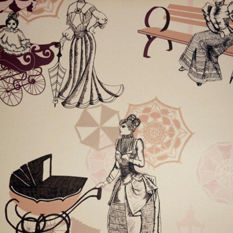 Kate Usher Studio / Parasol Parade 壁紙 (訂貨單位52cm×10m/卷)