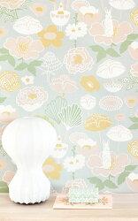 瑞典牆紙 花朵 花紋 小白兔 兔子 灰色 兒童房 小孩房 北歐風壁紙 Majvillan / Little Light Grey 114-01