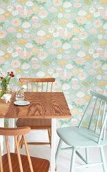 瑞典牆紙 花朵 花紋 小白兔 兔子 水藍色 兒童房 小孩房 北歐風壁紙 Majvillan / Little Light  Turquoise 114-02