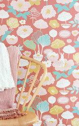 瑞典牆紙 花朵 花紋 小白兔 兔子 紅色 兒童房 小孩房 北歐風壁紙 Majvillan / Little Light Red 114-03