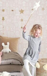壁紙屋本舖:瑞典牆紙街道房屋粉紅色兒童房小孩房北歐風壁紙MajvillanSmalltownDustyPink118-03