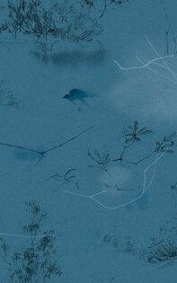 壁紙屋本舖:藍色鳥紋壁紙手繪壁紙Quercus&Co.澳大利亞進口壁紙TheCoastlandIICollectionCanopyIISaxeBlue