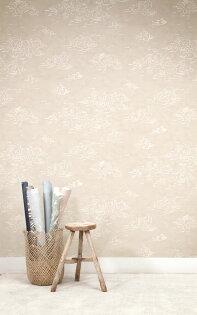 壁紙屋本舖:乳白色彩雲紋壁紙手繪水彩日式和風壁紙Quercus&Co.澳大利亞進口壁紙TheSuketchiCollectionHalcyonShiroWPHLC-188