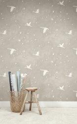 乳把色帶點灰色壁紙 星星 鳥紋水彩壁紙 房間使用 Quercus&Co. / 澳大利亞進口壁紙 The Suketchi Collection Starlit Mouse Grey WPSTA-185