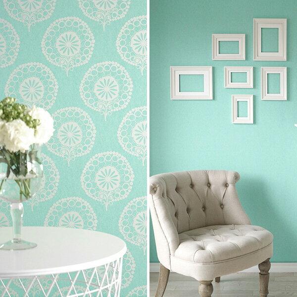 法國牆紙 藍綠色 大馬士革 素色 湖藍色壁紙 Texdecor CASAMANCE / LONDON / 111207 000508(訂貨單位 53cm×10m/卷)