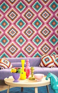 紡織紋粉色伊卡特花紋印度ikatrasch(德國壁紙)2019527445